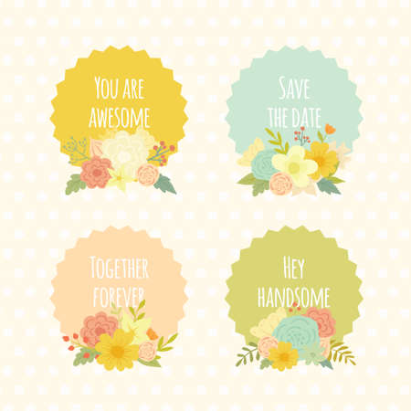 phrases: Cute vintage vector labels with beautiful floral bouquets. Summer colorful flowers and lovely phrases for wedding or declaration of love.