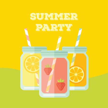 food drink: Flat colorful design style modern illustration party invitation with mason jar vectors. Summer lemonades with fruits lemon, orange and strawberries on yellow and green background.