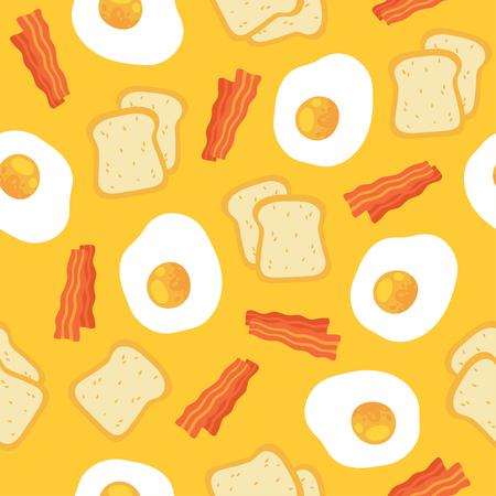 朝はスクランブルエッグ、トーストとベーコンのシームレスなパターンを朝食。漫画の背景が黄色のイラスト。 ウェブの背景の壁紙のためのシーム