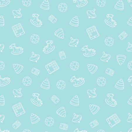Seamless minimal vector pattern with toys. Pyramid, whirligig, phone, tablet, ball and rocking horse. For cards, invitations, baby shower albums, backgrounds, scrapbooks.