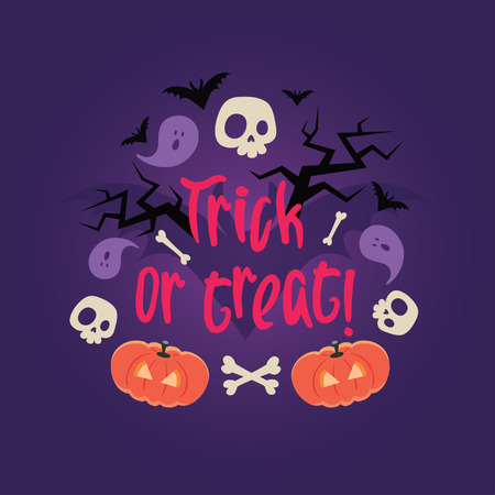 frightful: Day of the dead colorful vector card. Halloween scary background with skulls, pumkins, bones, bats and trees. Can be used for invitations, albums, frames.