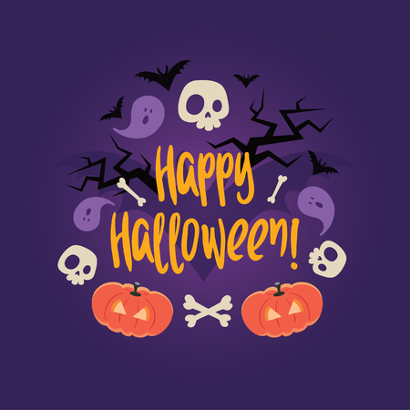 frightful: Day of the dead colorful vector card. Halloween scary background with skulls, pumkins, bones, ghosts, bats and trees. Can be used for invitations, albums, frames. Illustration