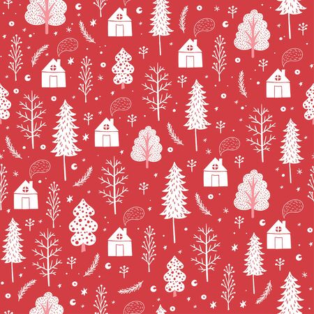 cozy: Cozy christmas seamless pattern made of winter trees, houses and snowflakes in vector. Seamless pattern can be used for wallpapers, pattern fills, web page backgrounds,surface textures. Illustration