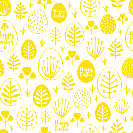 Seamless minimal easter vector pattern with eggs and spring leafs. For cards, invitations, albums, backgrounds and scrapbooks.