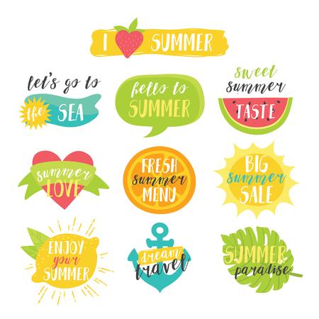 Cute bright colorful summer vector set with sun, watermelon, orange, lemon, sea, heart, anchor and tropical leaf.