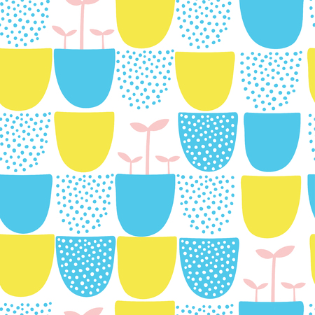 Seamless minimal scandinavian  pattern with dots and shapes. Illustration