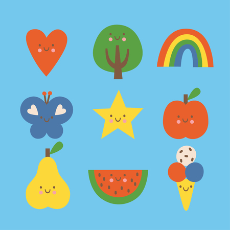 Flat colorful design style cartoon doodle modern vector illustration set. Heart, tree, rainbow, butterfly, star, apple, pear, watermelon and ice cream isolated on blue background.