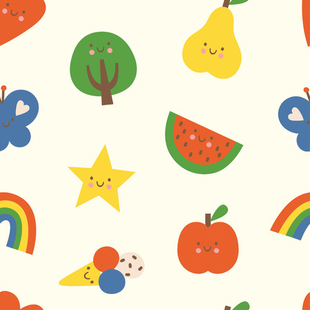 Lovely colorful vector seamless pattern with heart, tree, rainbow, butterfly, star, apple, pear, watermelon and ice cream in bright colors. Can be used for wallpapers, web page backgrounds.