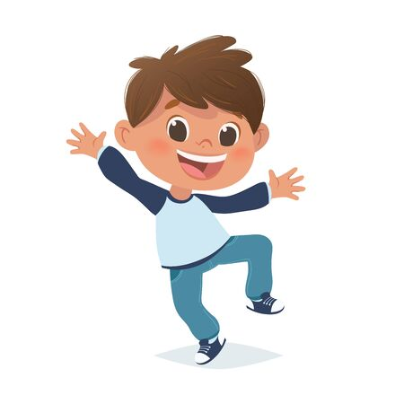 Vector mexican boy jumping and laughing. Cartoon funny character design, isolated on white background. Иллюстрация