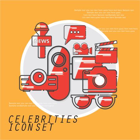 celebrities: celebrities universal movie icons line story Illustration