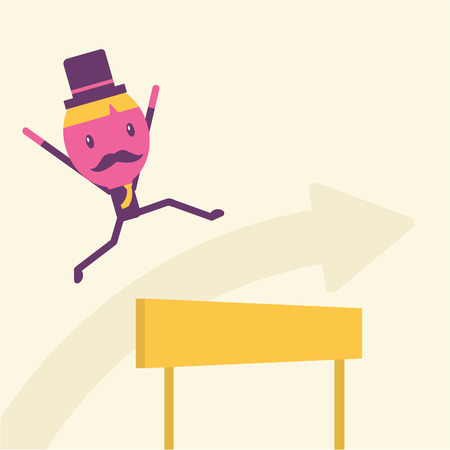 idea hurdle: Businessman hurdle to successful Business concept idea Illustration