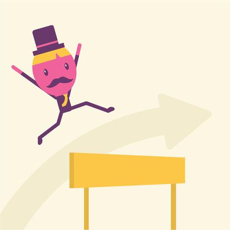 idea hurdle: Businessman hurdle to successful Business concept idea Illustration
