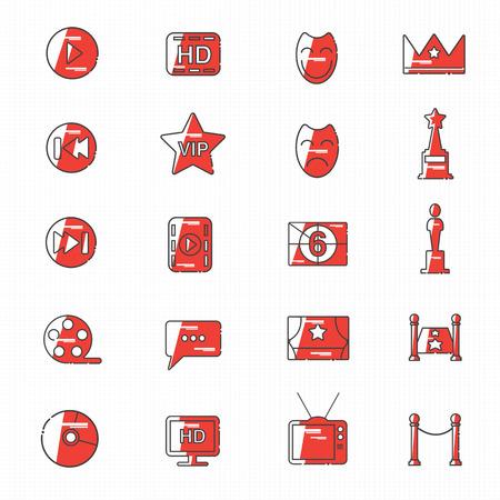 celebrities: celebrities universal movie icons line colour big set