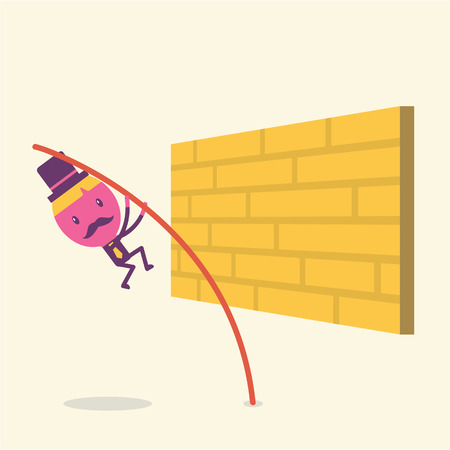 business jump: Businessman jump the barrier to successful Business concept idea Illustration