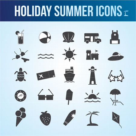 summer holiday: Holiday summer icon theme set
