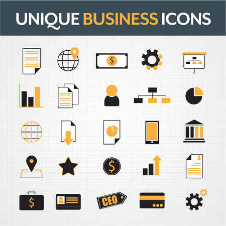 contacting: Business office icons set
