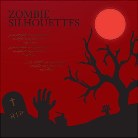 dead tree: Zombie greeting theme set
