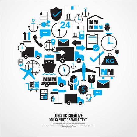 conjunto el tema de la red logística mundial Ilustración de vector