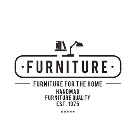 Muebles Emblema conjunto de vectores de la vendimia, inconformista y el estilo retro, para la identidad corporativa