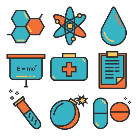 Science icons, technology science medical set, illustration Illustration