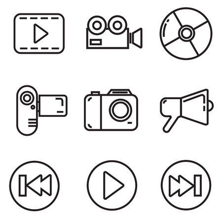 celebrities: celebrities universal movie vector icons line colour big set Illustration