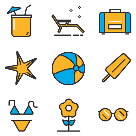 summer holiday: Holiday summer vector icon theme set, illustration