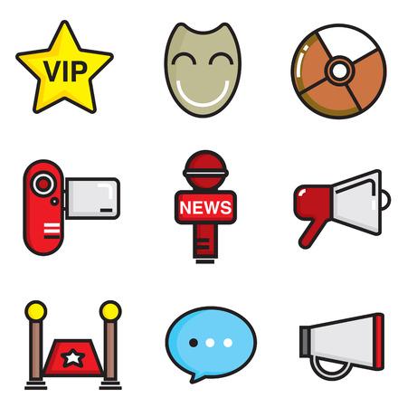 celebrities: celebrities universal movie vector flat icons line colour big set