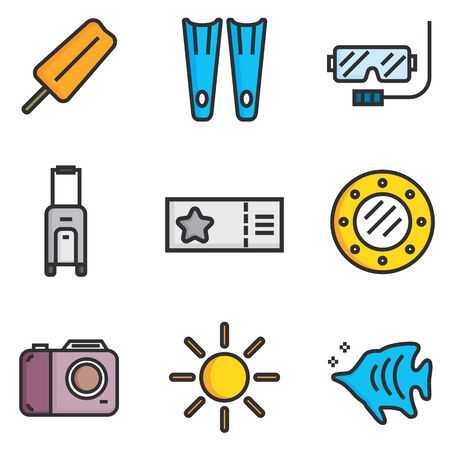 summer holiday: Holiday summer vector flat icon theme set Illustration