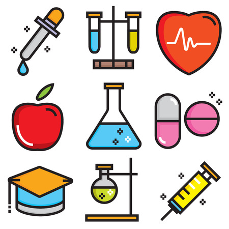Science icons, technology science medical set, flat style  Illustration