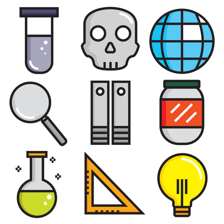 toxicology: Science icons, technology science medical set, flat style  Illustration