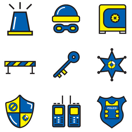 Police icons design colour, illustration EPS10