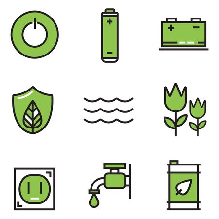 Ecology colour of icons set, illustration EPS10