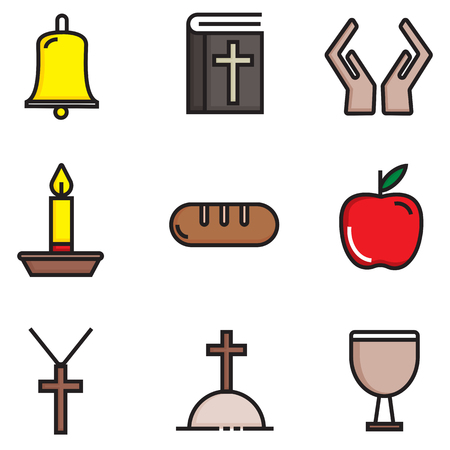 set vector images of religions flat icons Illustration