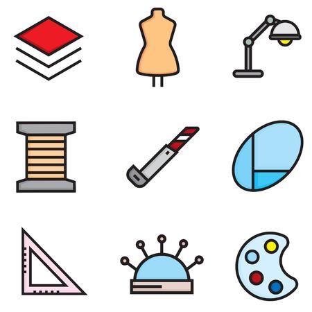 Sewing and needlework vector flat icons set, illustration EPS10 Illustration