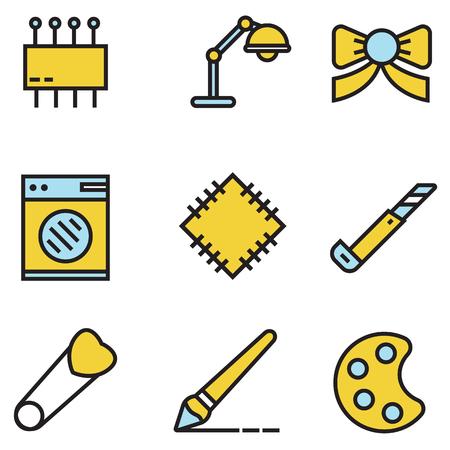 Costura y costura vector iconos conjunto, ilustración EPS10