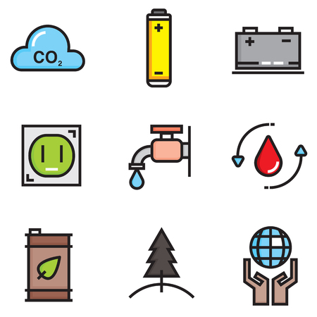 Ecology colour of flat icons set