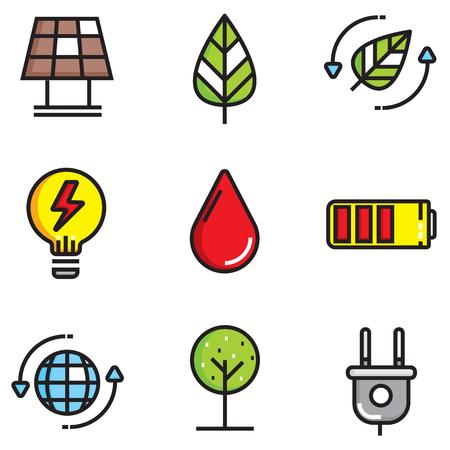 Ökologie Farbe des flachen Icons Set