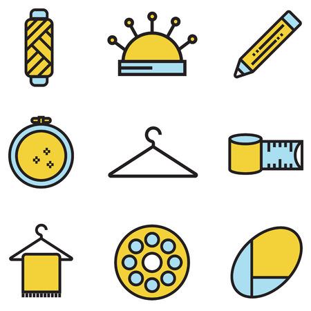 coser y aguja de trabajo iconos conjunto de vectores