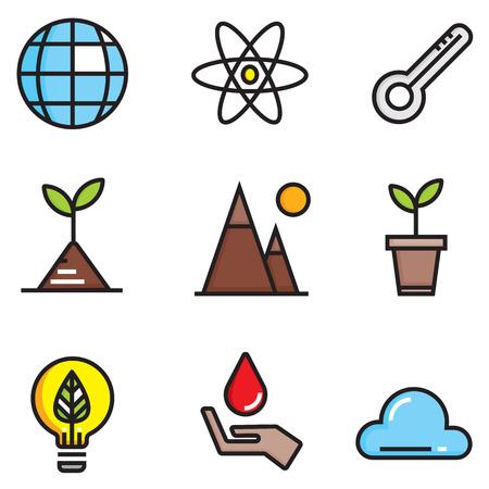 Ecology colour of flat icons set, illustration EPS10 Illustration