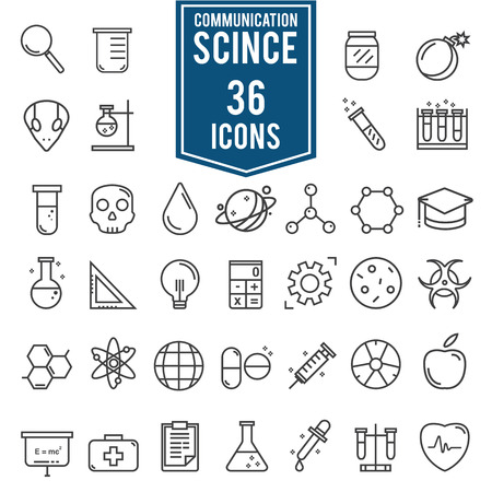 Science icons, technology science medical set