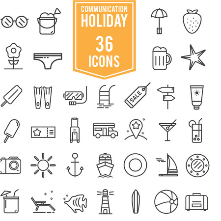 summer holiday: Holiday summer vector icon theme set