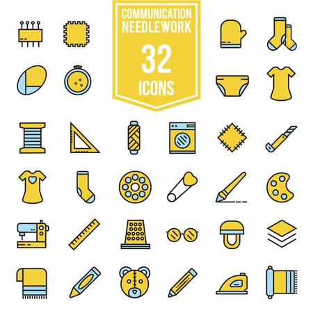 coser y neesdlework vector iconos planos conjunto, ilustración EPS10