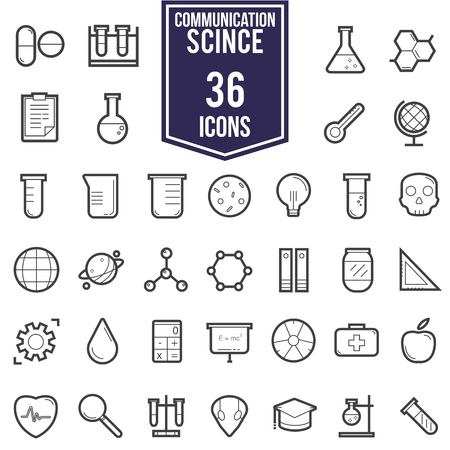 toxicology: Science icons, technology science medical set, flat style