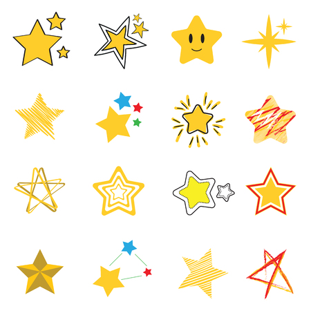 stars red and yellow collection vector icon set, illustration design Ilustração