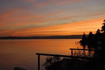 Romantic sunset on Lake Garda  photo