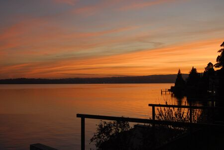 Romantic sunset on Lake Garda  Stock Photo