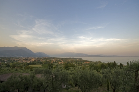 Panoramic view from a country of Lake Garda   Stock Photo