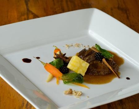 meat dish elegant service of haute cuisine photo