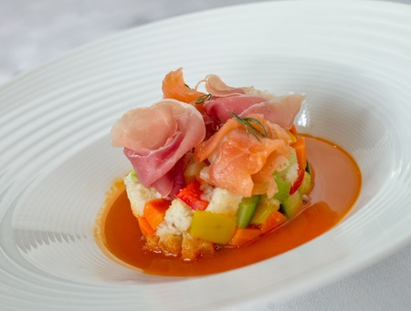 very elegant fish and meat dish service of haute cuisine