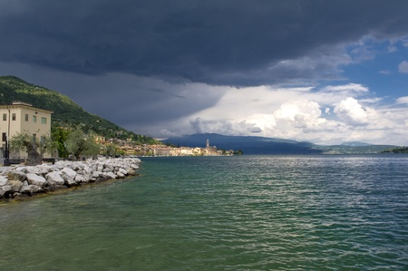 Gulf of Salo, Lake Garda overview during a summer storm